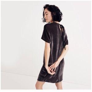 NWOT Madewell Velvet Bow Back Shift Dress